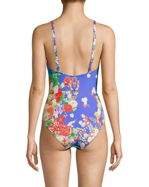 51a432188bd98 ... Camilla - Blue Floral One-piece Swimsuit - Lyst ...