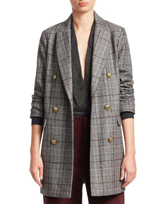 Brunello Cucinelli - Gray Plaid Wool Coat - Lyst
