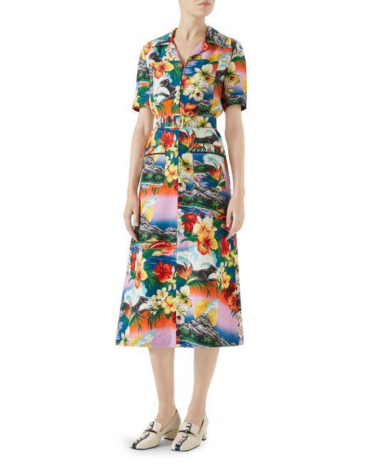 Hawaiian print dress - Multicolour Gucci N7Zlr
