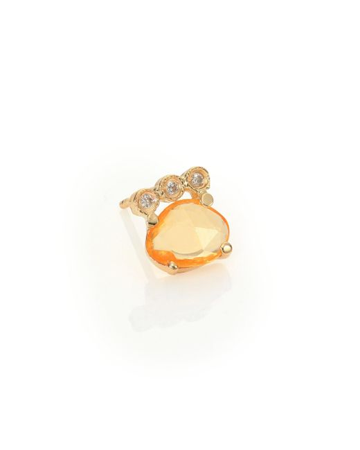 Jacquie Aiche | Diamond, Orange Sapphire & 14k Yellow Gold Single Stud Earring | Lyst