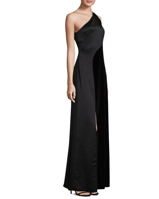 Laundry by Shelli Segal | Black Satin One-shoulder Gown | Lyst