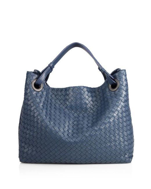Bottega Veneta - Blue Intrecciato Top-handle Bag - Lyst