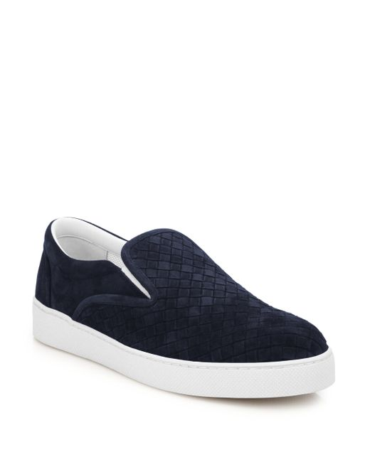 Bottega Veneta | Blue Dodger Intrecciato Slip-on Suede Sneakers for Men | Lyst
