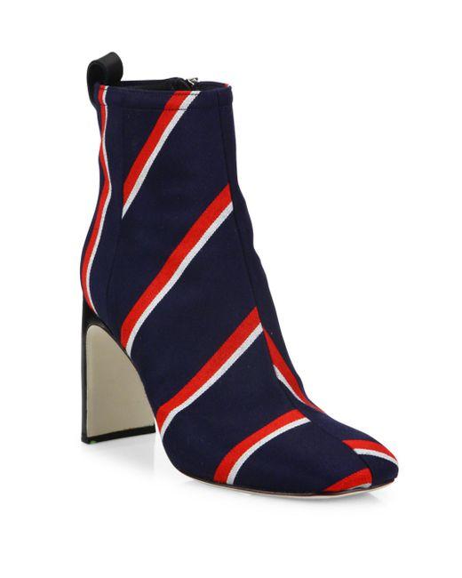 Rag & Bone | Blue Ellis Striped Wool Ankle Boots | Lyst