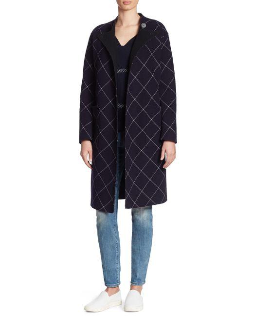 Armani - Blue Double-face Wool & Cashmere Windowpane Wrap Coat - Lyst