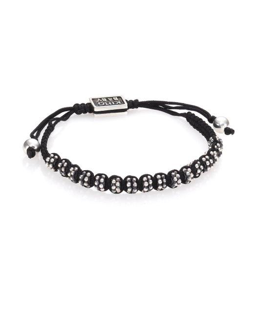 King Baby Studio - Black Sterling Silver & Cord Slide Bracelet for Men - Lyst