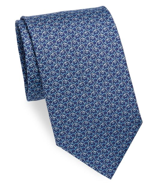 Ferragamo | Blue Elephant Silk Necktie for Men | Lyst