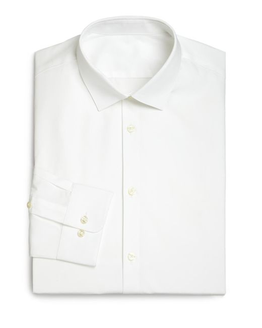 Saks Fifth Avenue | White Modern Slim-fit Stretch Poplin Dress Shirt for Men | Lyst