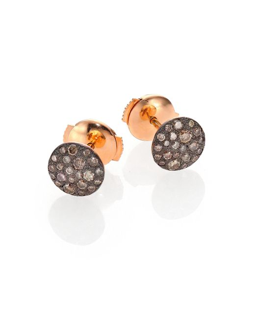 Pomellato | Pink Sabbia Brown Diamond & 18k Rose Gold Stud Earrings | Lyst