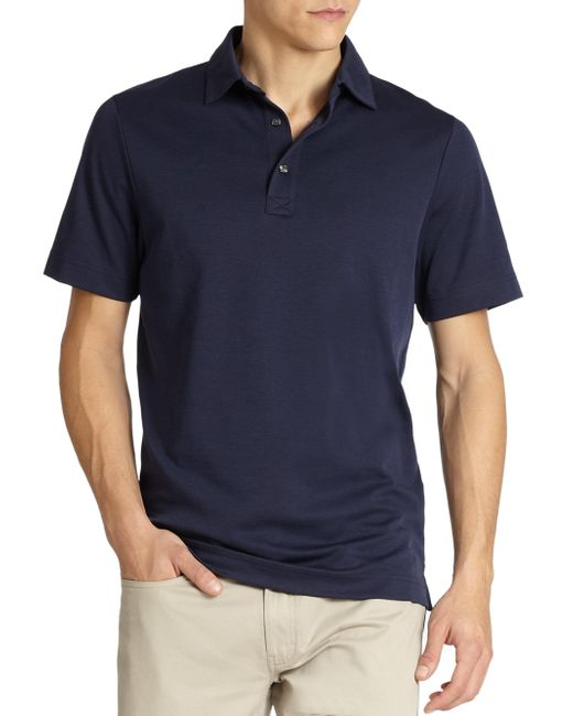 Saks Fifth Avenue | Blue Oxford Performance Polo for Men | Lyst