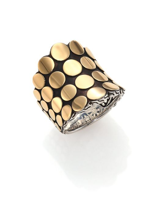 John Hardy - Metallic Dot 18k Yellow Gold & Sterling Silver Saddle Ring - Lyst