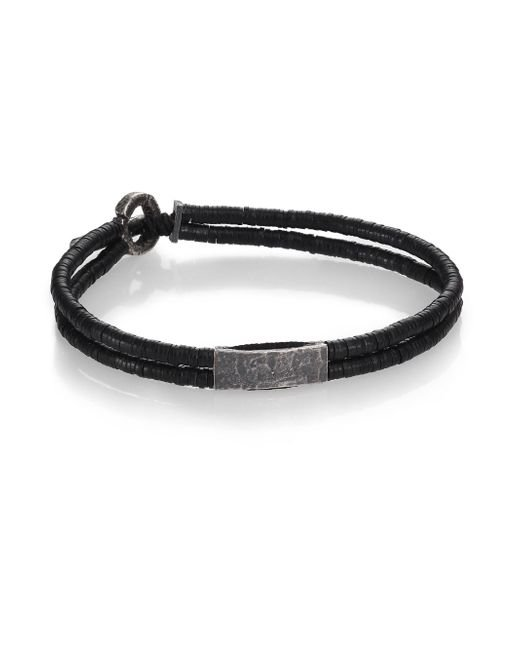 M. Cohen - Black Small Bar Vinyl & Silver Bracelet - Lyst