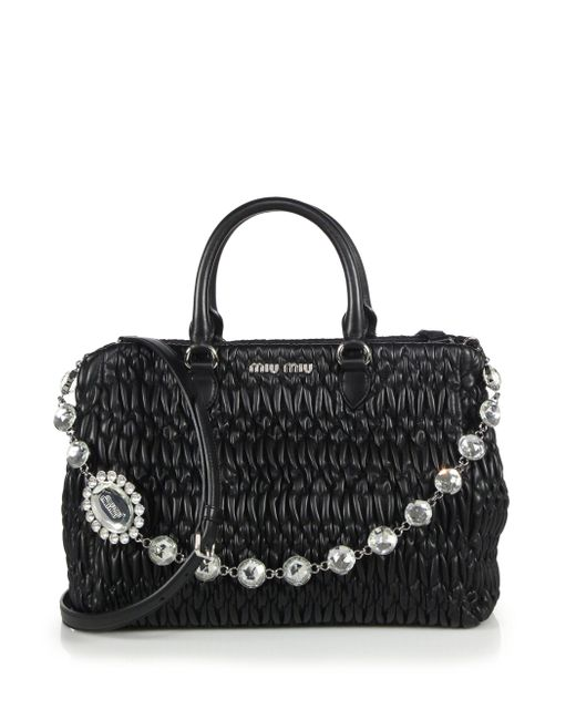 Miu Miu | Black Nappa Crystal Matelasse Leather Satchel | Lyst