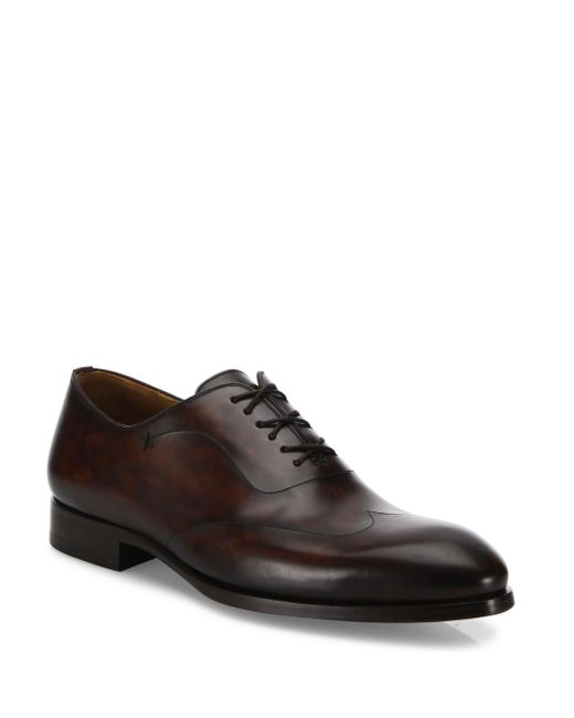 Saks Fifth Avenue - Brown Saks Fifth Avenue By Magnanni Laser-cut Leather Oxfords for Men - Lyst