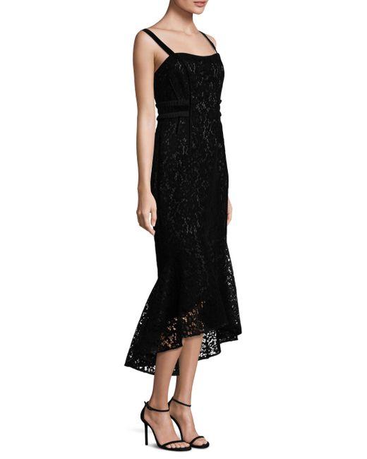 Laundry by Shelli Segal | Black Flocked Velvet Hi-lo Dress | Lyst