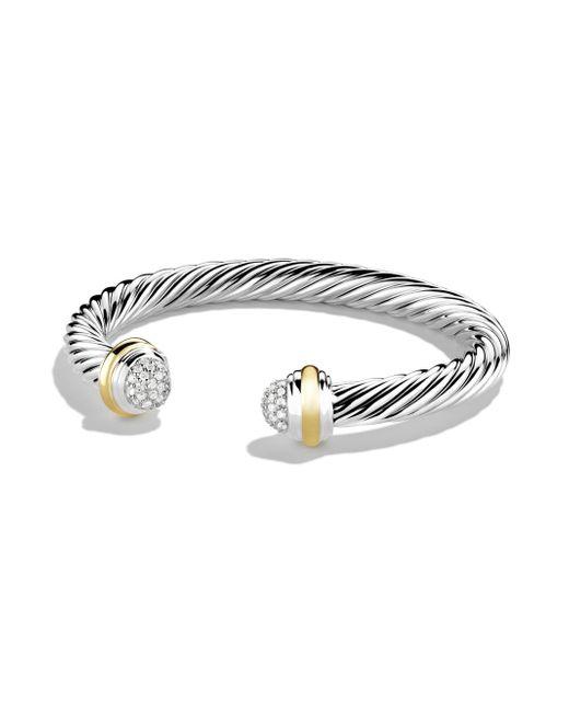 David Yurman | Metallic 7mm Pave Tipped Bracelet | Lyst