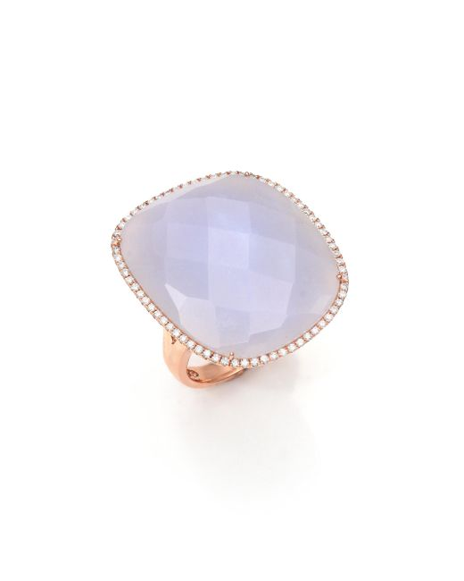 Meira T | Pink Diamond, Blue Opal And 14k Rose Gold Ring | Lyst