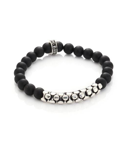 King Baby Studio - Metallic Onyx & Sterling Snake Link Bracelet for Men - Lyst
