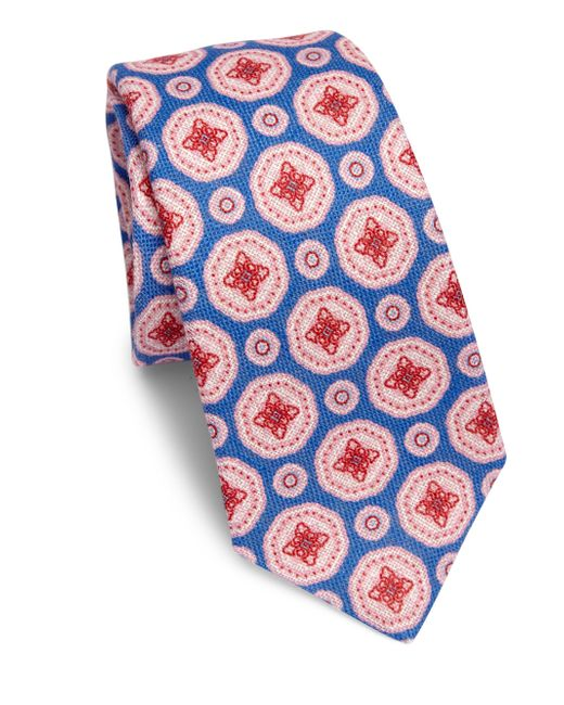 Kiton | Blue Large Medallion Linen Tie for Men | Lyst