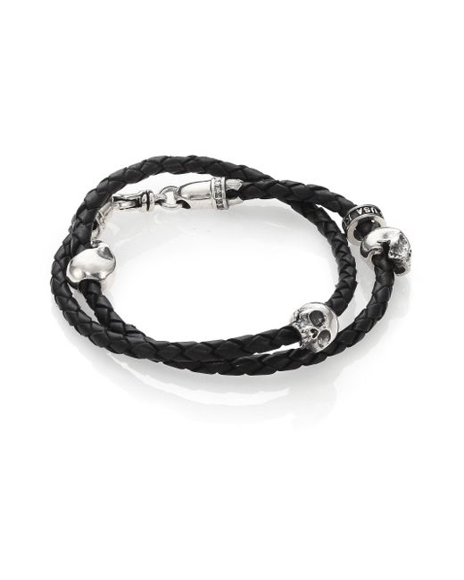 King Baby Studio - Black Thin-braided Double Wrap Leather Bracelet - Lyst