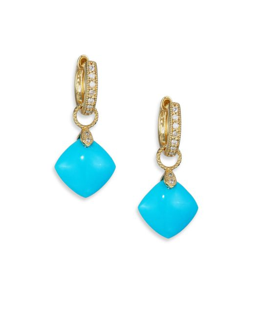 Jude Frances | Blue Classic Turquoise, Diamond & 18k Yellow Gold Cushion Earring Charms | Lyst