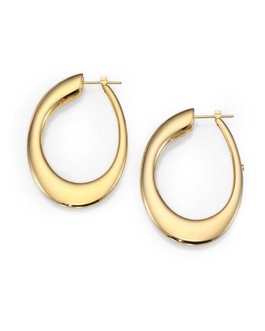Roberto Coin | Metallic 18k Yellow Gold Oval Hoop Earrings/1.8 | Lyst