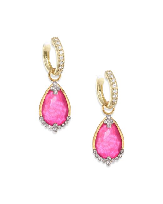 Jude Frances - Multicolor Provence Champagne Diamond & Rhodalite Earring Charms - Lyst