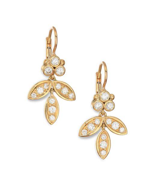Temple St. Clair - Metallic Foglia Diamond & 18k Yellow Gold Earrings - Lyst