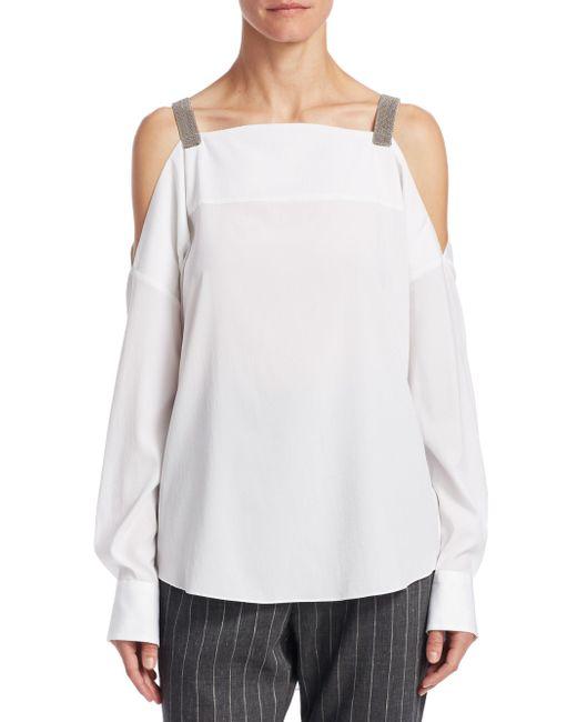 Brunello Cucinelli - White Silk Cold-shoulder Top - Lyst