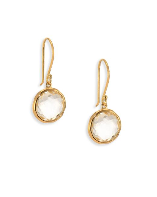 Ippolita | Metallic Lollipop Clear Quartz & 18k Yellow Gold Mini Drop Earrings | Lyst