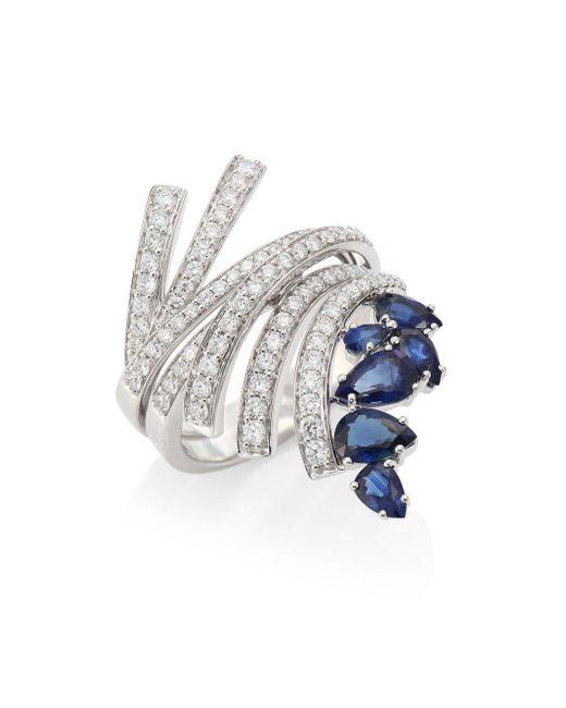 Hueb - Mirage Diamond & Blue Sapphire Ring - Lyst