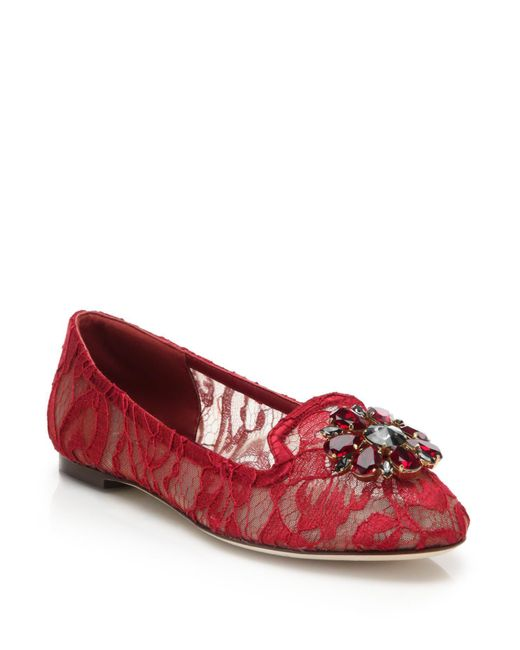 Dolce & Gabbana | Red Embellished Lace Loafers | Lyst