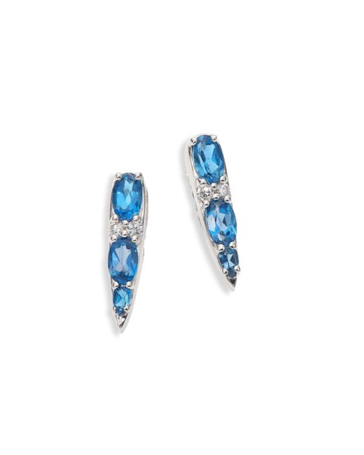 Nikos Koulis - Spectrum Tapered Diamond, London Blue Topaz & 18k White Gold Stud Earrings - Lyst