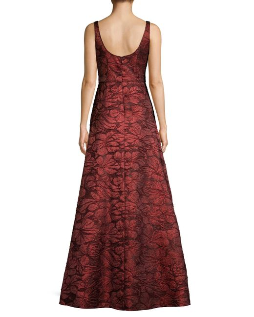 fdfd5a58b70359 Lyst - Aidan Mattox Floral Jacquard Gown in Red - Save 50%