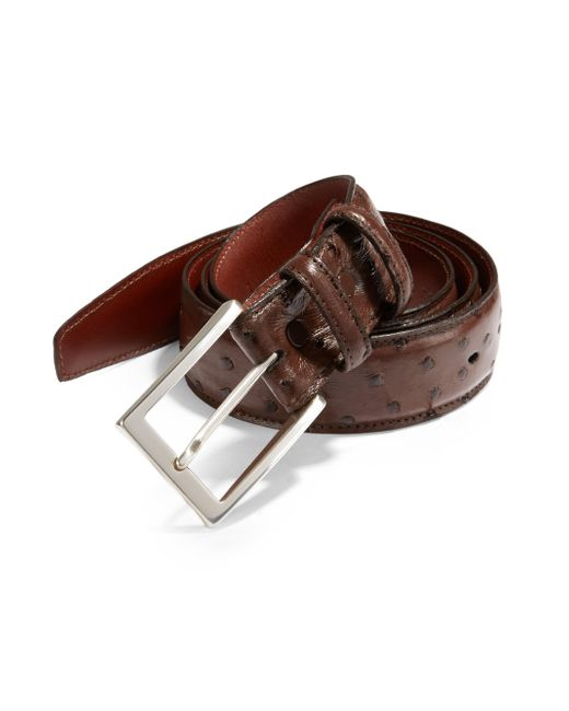 Saks Fifth Avenue - Brown Ostrich Leather Belt for Men - Lyst