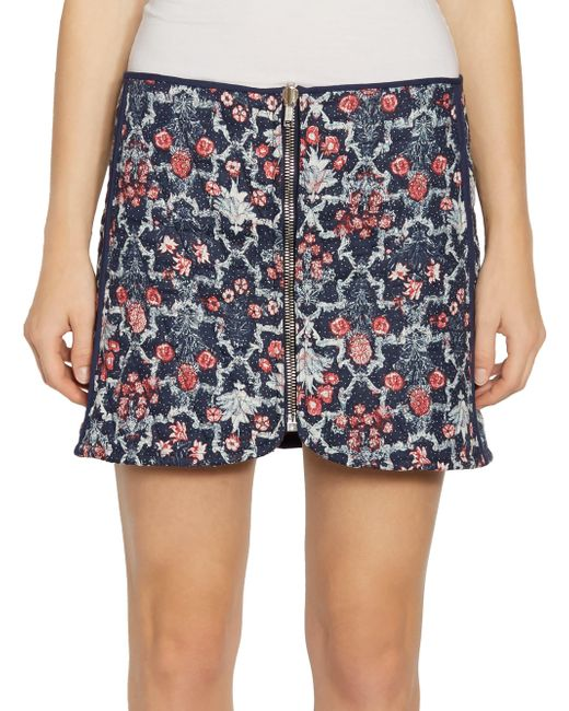 Étoile Isabel Marant - Blue Marily Reversible Floral Quilted Zip Linen Mini Skirt - Lyst