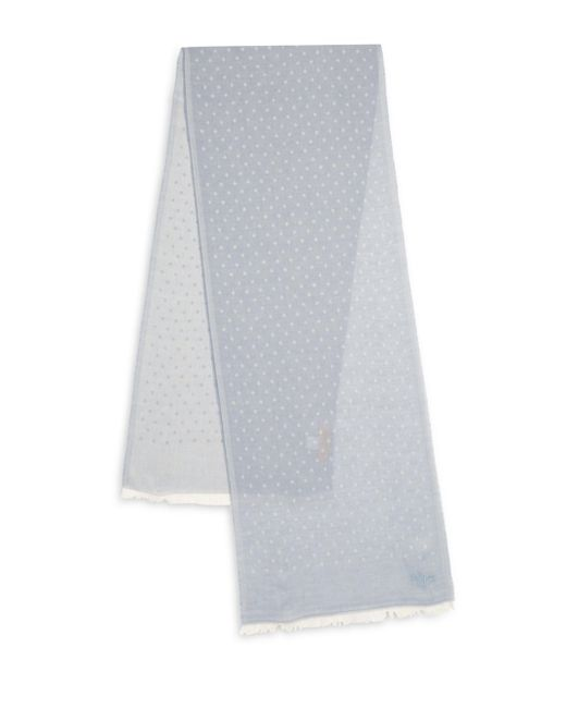 Hickey Freeman | White Polka Dot Printed Scarf | Lyst