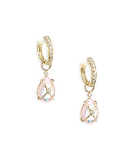 Jude Frances - Metallic Lisse Tiny Crisscross Wrapped Diamond & Morganite Earring Charms - Lyst