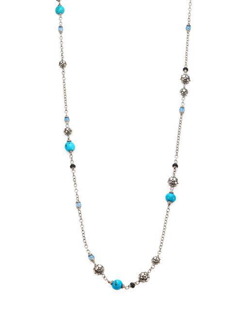 John Hardy - Metallic Dot Turquoise, Swiss Blue Topaz, Black Sapphire & Sterling Silver Sautoir Station Necklace/36 - Lyst