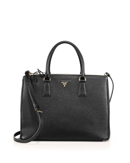 Prada | Black Medium Saffiano Leather Tote | Lyst