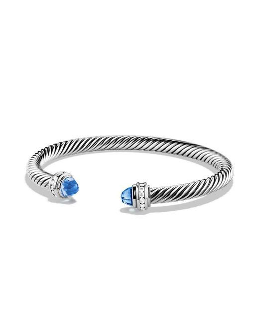 David Yurman - Cable Sterling Silver, Blue Topaz & Diamond Bracelet - Lyst