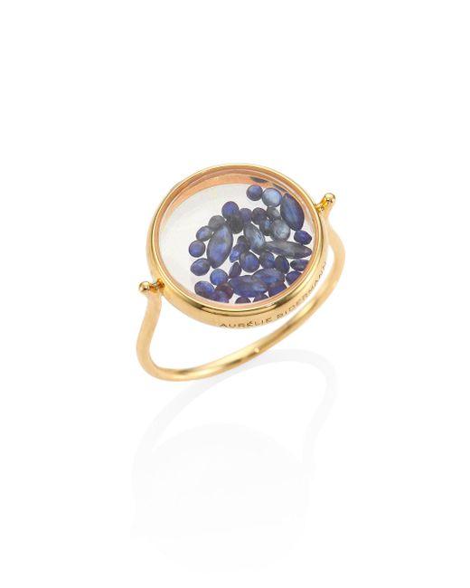 Aurelie Bidermann | Metallic Blue Sapphire & 18k Yellow Gold Chivor Ring | Lyst