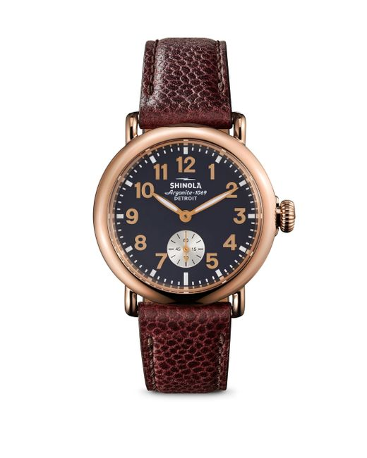 Shinola | Red Runwell Rose Goldtone Stainless Steel & Leather Strap Watch | Lyst