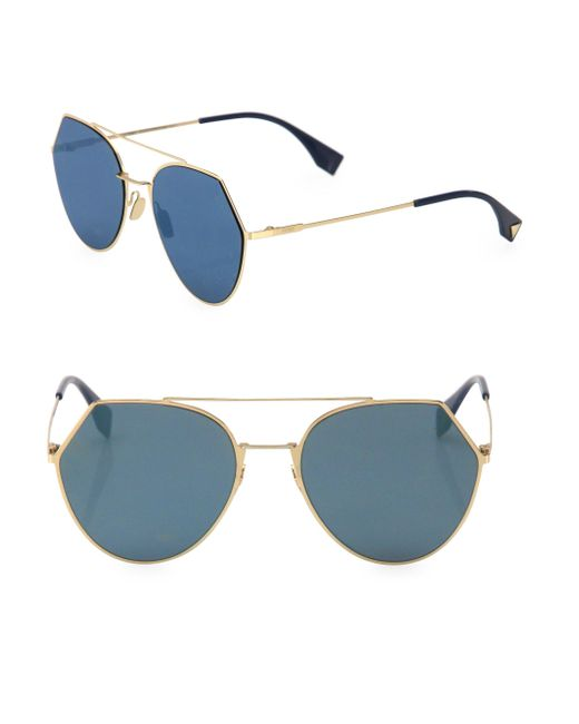 Fendi - Blue 55mm Notched Aviator Sunglasses - Lyst