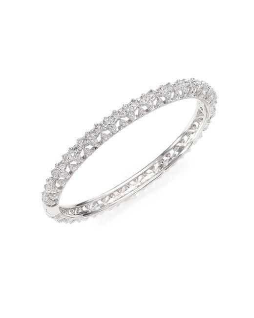 Adriana Orsini - Metallic Pave Crystal Floral Bangle Bracelet - Lyst