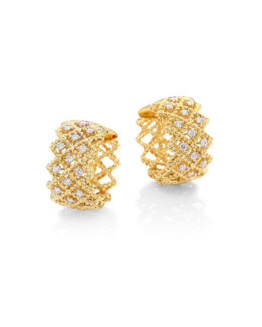 "Roberto Coin | Metallic New Barocco Diamond & 18k Yellow Gold Hoop Earrings/0.7"" | Lyst"