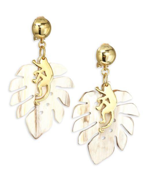 Oscar de la Renta - Metallic Small Jungle Horn Clip-on Earrings - Lyst