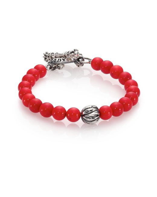 King Baby Studio | Red Coral & Silver Feather Beaded Bracelet | Lyst