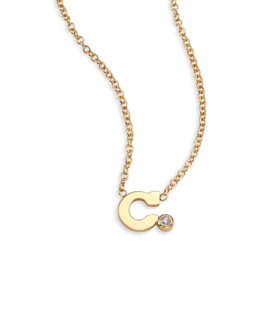 Lyst zoe chicco diamond 14k yellow gold initial pendant necklace zoe chicco metallic diamond 14k yellow gold initial pendant necklace lyst aloadofball Choice Image