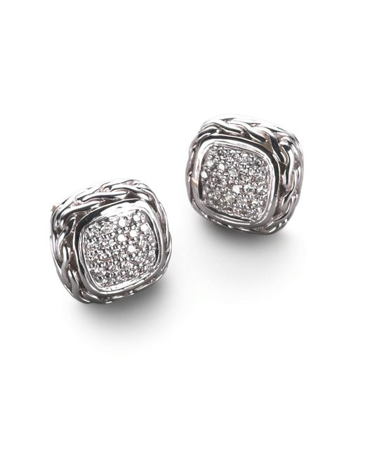 John Hardy - Metallic Classic Chain Diamond & Sterling Silver Small Square Stud Earrings - Lyst